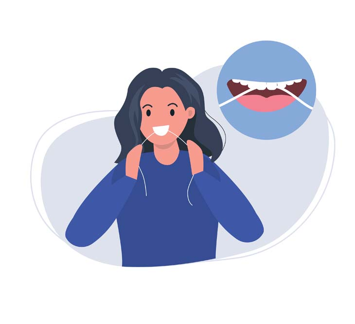 woman demonstrating how to floss teeth